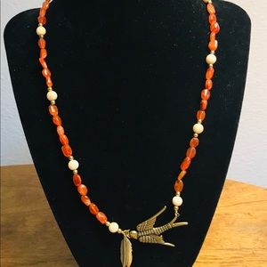 """Necklace 18"""" stones with Bird & Feathers"""